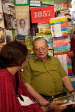 Ruskin Bond; an Indian author of British descent. He lives with his adopted family in Landour, in Mussoorie; with Priya Nair